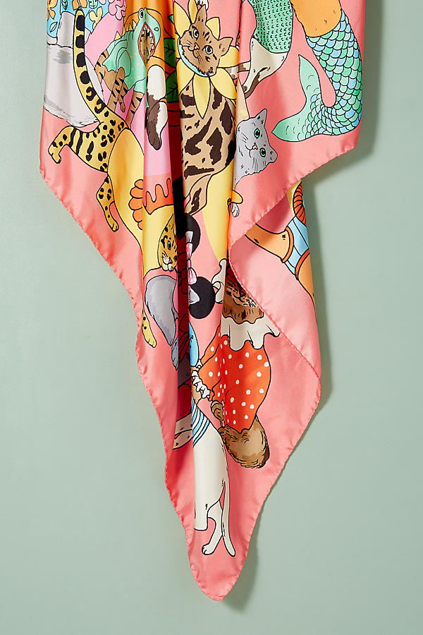 Slide View: 3: Karen Mabon Cats Disguised Silk Scarf