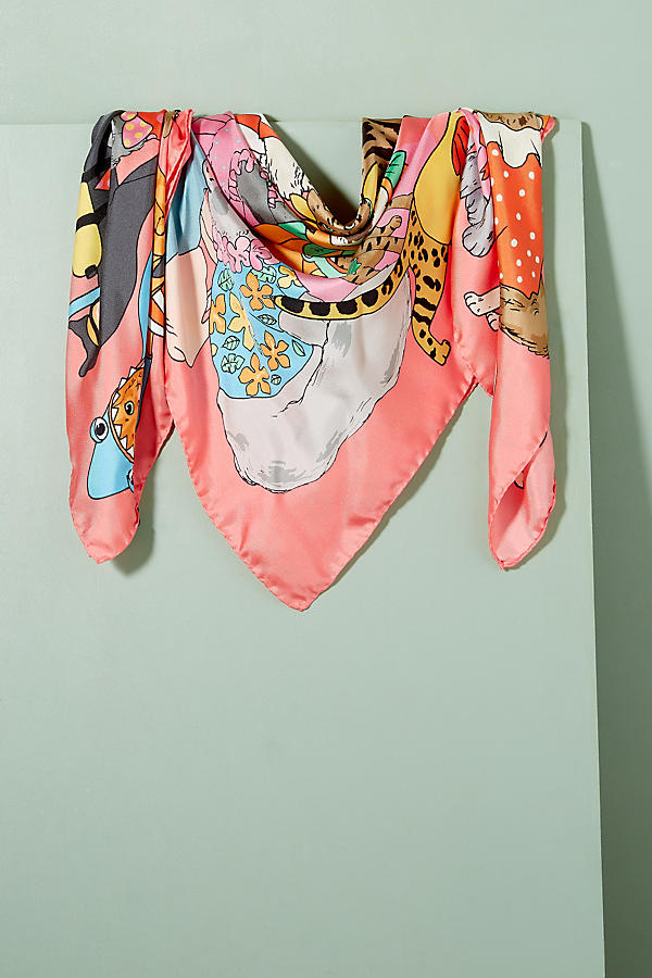 Slide View: 1: Karen Mabon Cats Disguised Silk Scarf