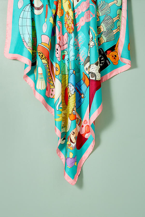 Slide View: 4: Foulard en soie Karen Mabon Wonderful World