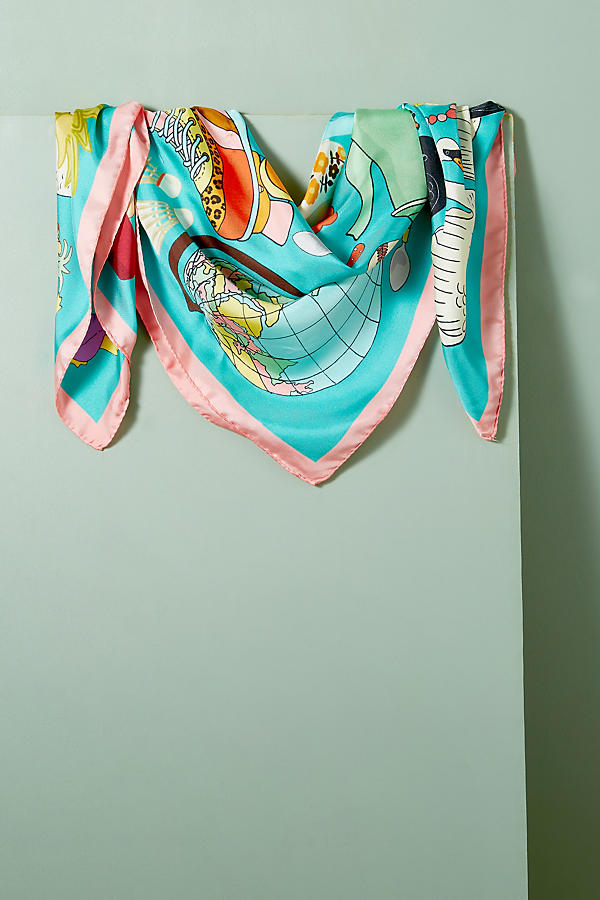 Slide View: 2: Foulard en soie Karen Mabon Wonderful World