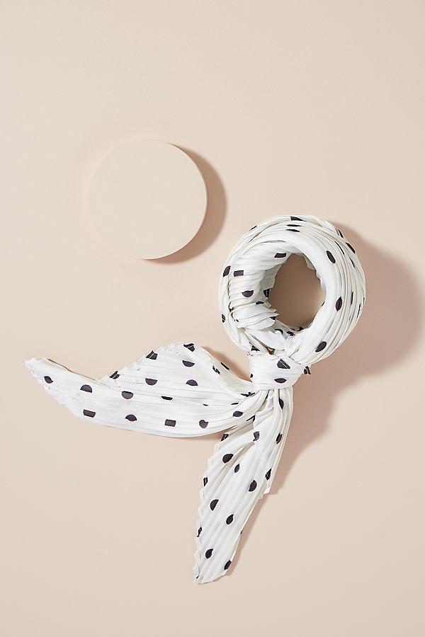 Pleated Polka-Dot Scarf - White