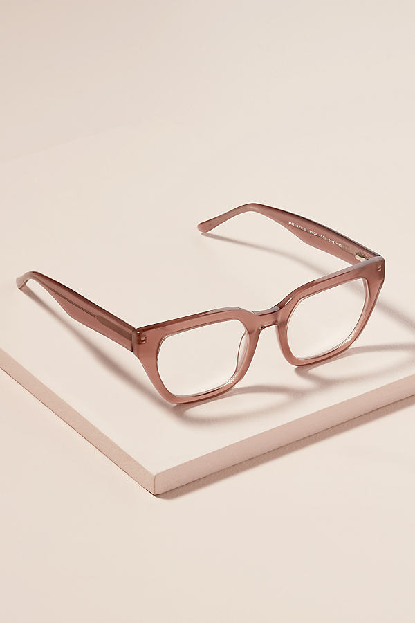 Rectangle-Frame Tortoiseshell-Effect Glasses - Beige, Size 2.00X