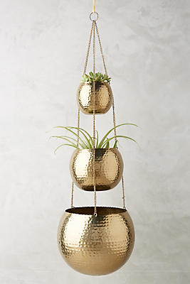 Slide View: 1: Hammered Trio Plant Hanger