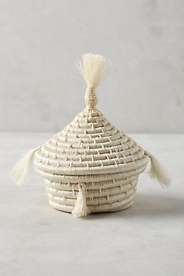 Slide View: 1: Lidded Tassel Basket