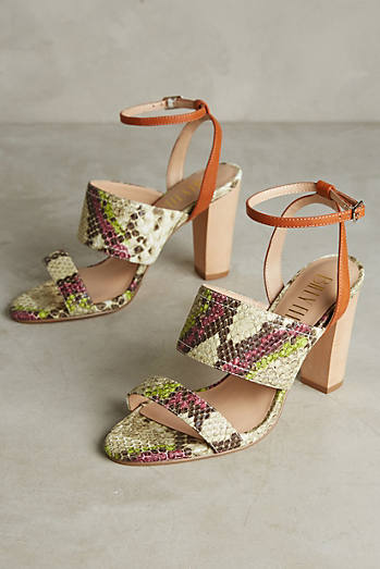 Billy Ella Snake Print Wood Heels