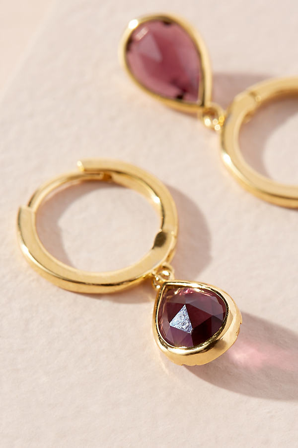 Birthstone Drop Earrings - Purple