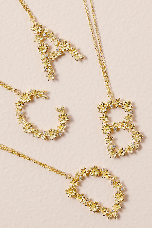 Jewellled-Flower Monogram Necklace - Assorted, Size G