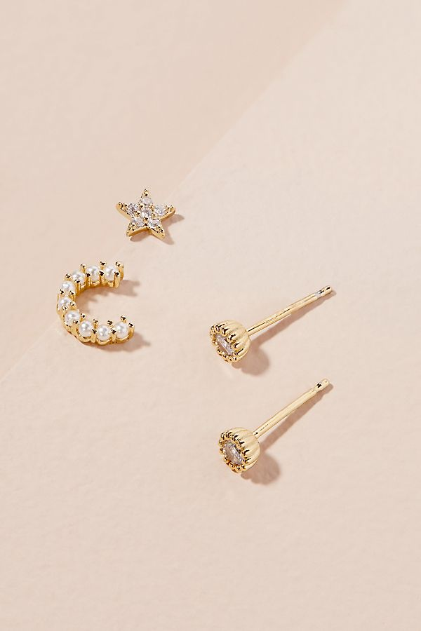 Slide View 1 Embellished Monogram Earring Set