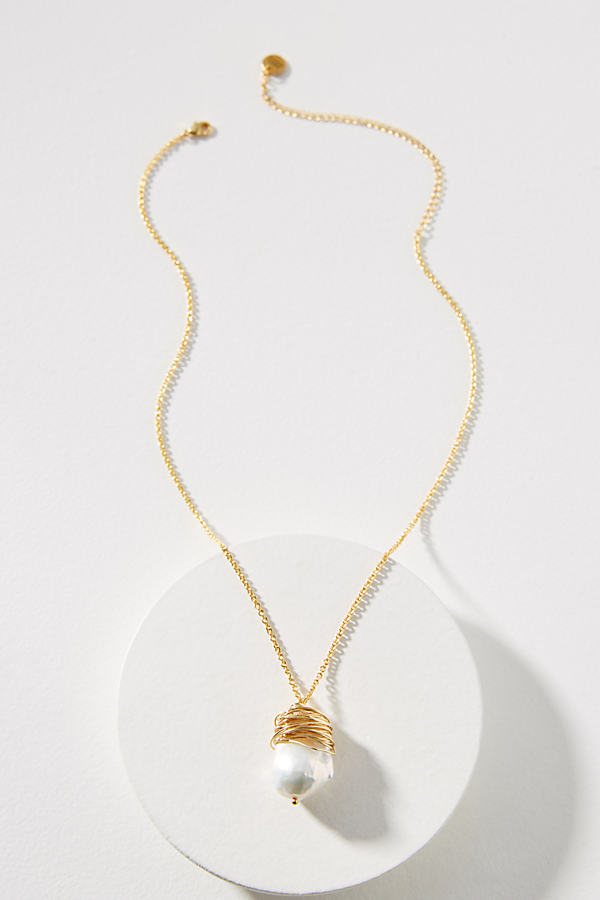 Amber Sceats Mishell Pearl Necklace - Gold