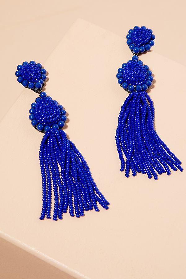 Mahli Tassel Drop Earrings - Blue