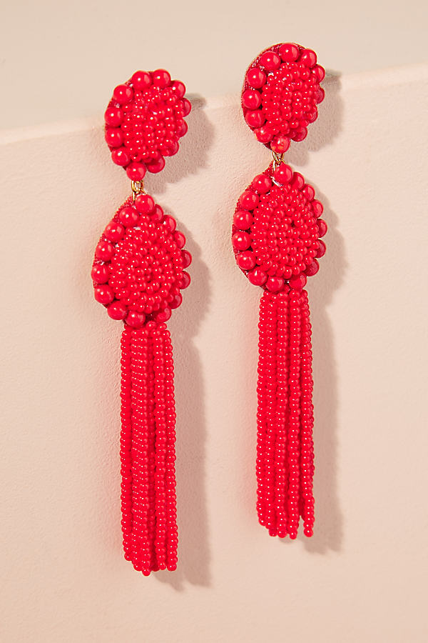 Mahli Tassel Drop Earrings - Red