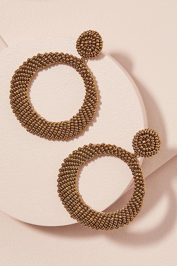 Tove Beaded-Hoop Earrings - Gold