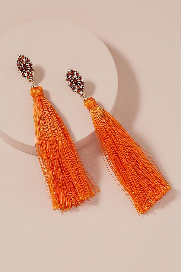 Mahli Jewelled Tassel Earrings - Orange