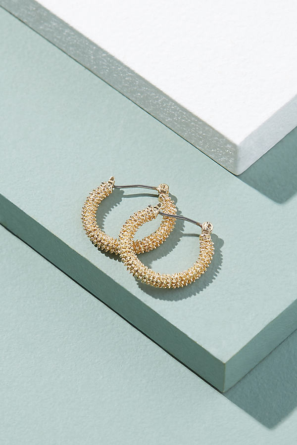 Yvonne Textured Mini Hoops - Gold
