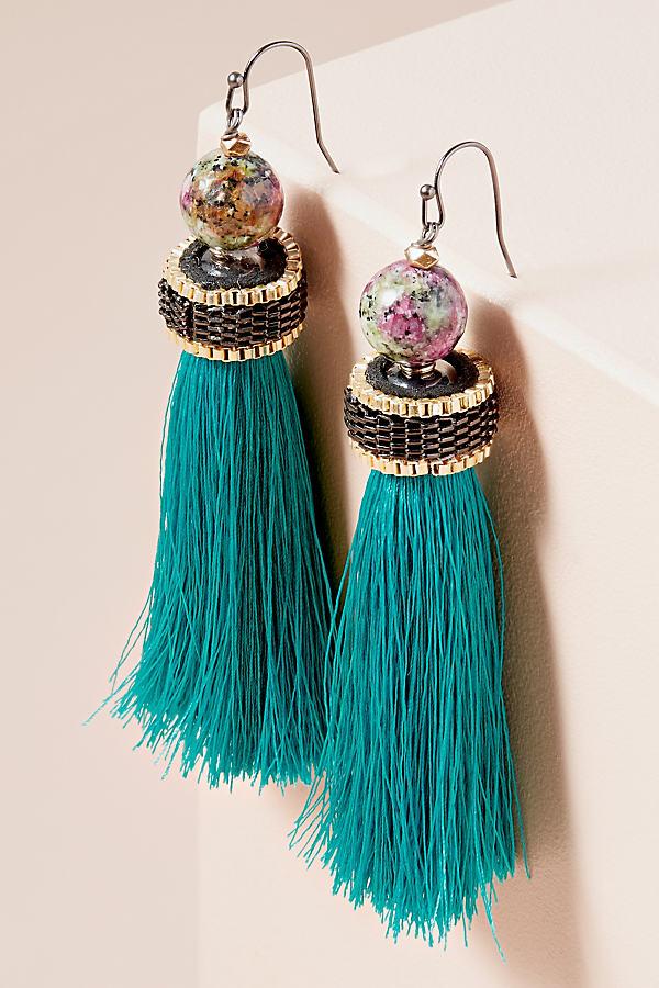 Octavo Tasseled Drop Earrings - Turquoise