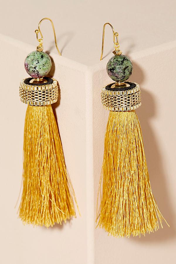 Octavo Tasseled Drop Earrings - Yellow