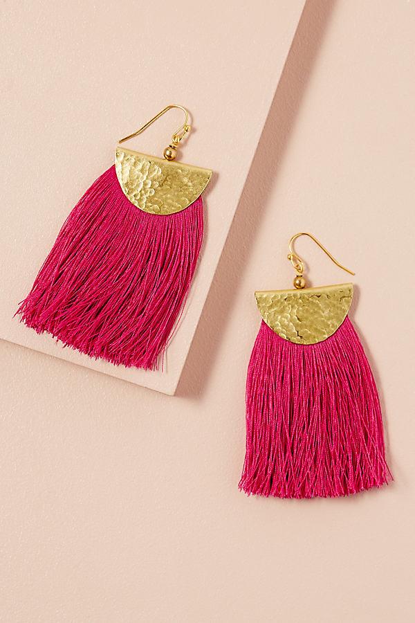 Tassel Drop Earrings - Pink