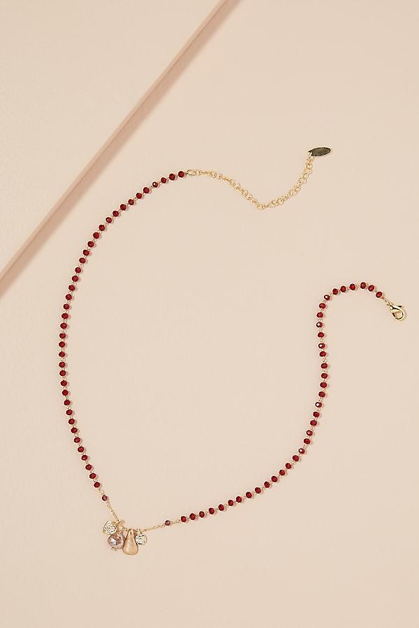 Beaded Stone Necklace - Purple