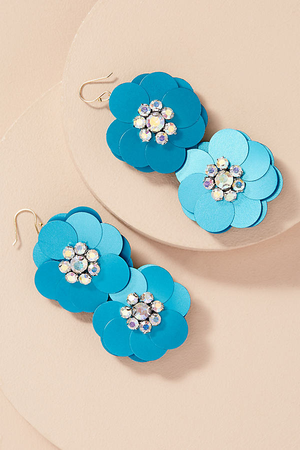 Frantiska Floral Sequin Earrings - Turquoise