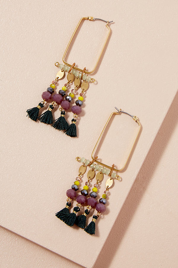 Frida Beaded Tassel Earrings - Green