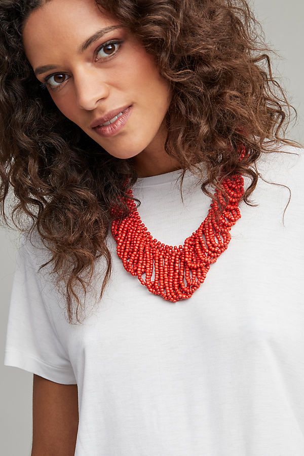 Kia Looped Bead Necklace - Red