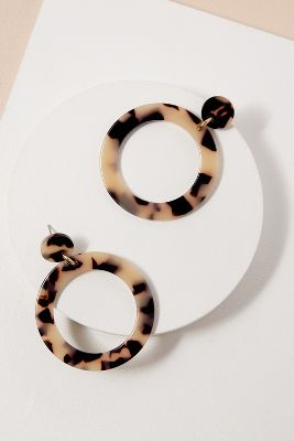 Lidiya Tortoiseshell Drop Hoops by Anthropologie