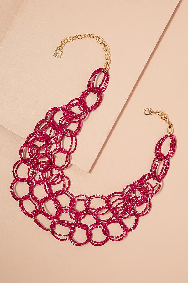 Charlotta Beaded-Circle Necklace - Pink
