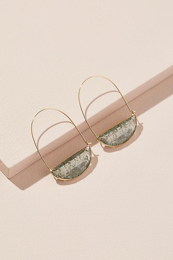 Stone Crescent Hoop Earrings - Blue