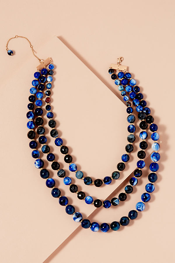 Ilona Marbled Necklace - Blue