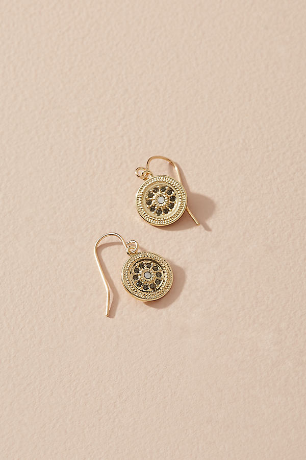 Jewelled-Coin Drop Earrings - Gold