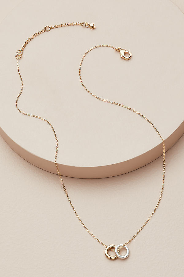 Double Pendant Mixed Metal Necklace