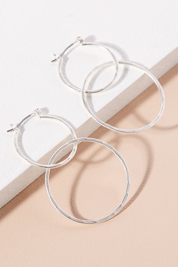 Double-Link Hoop Earrings - Silver