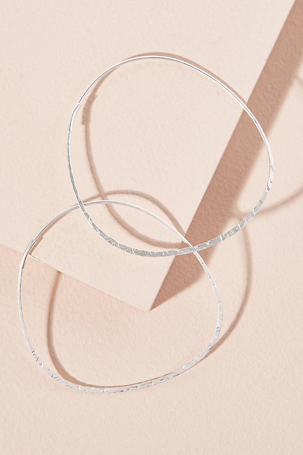 Decorative Carola Hoop Earrings - Silver