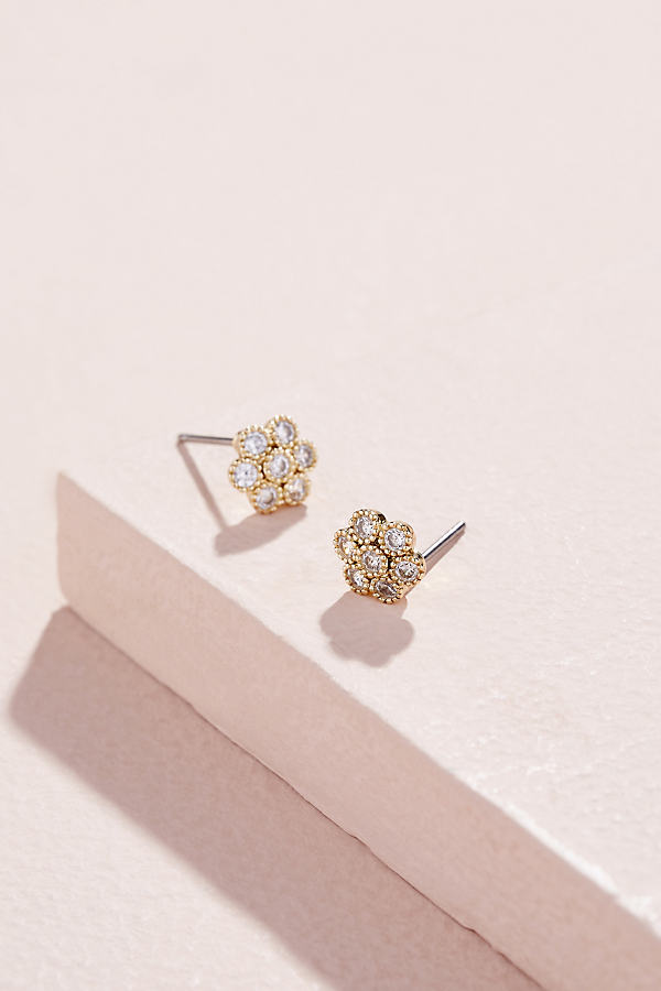 Jewelled-Floral Stud Earrings - Gold