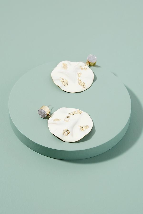 Dionne Mixed-Media Earrings - White