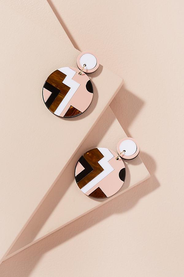 Geometric Disc-Drop Earrings - Pink