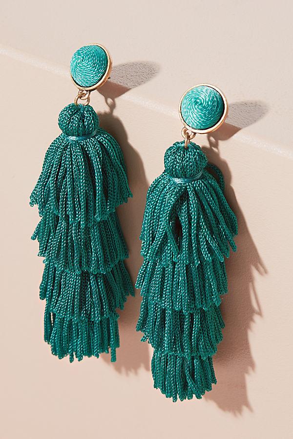 Malika Tiered Tassel Earrings - Green