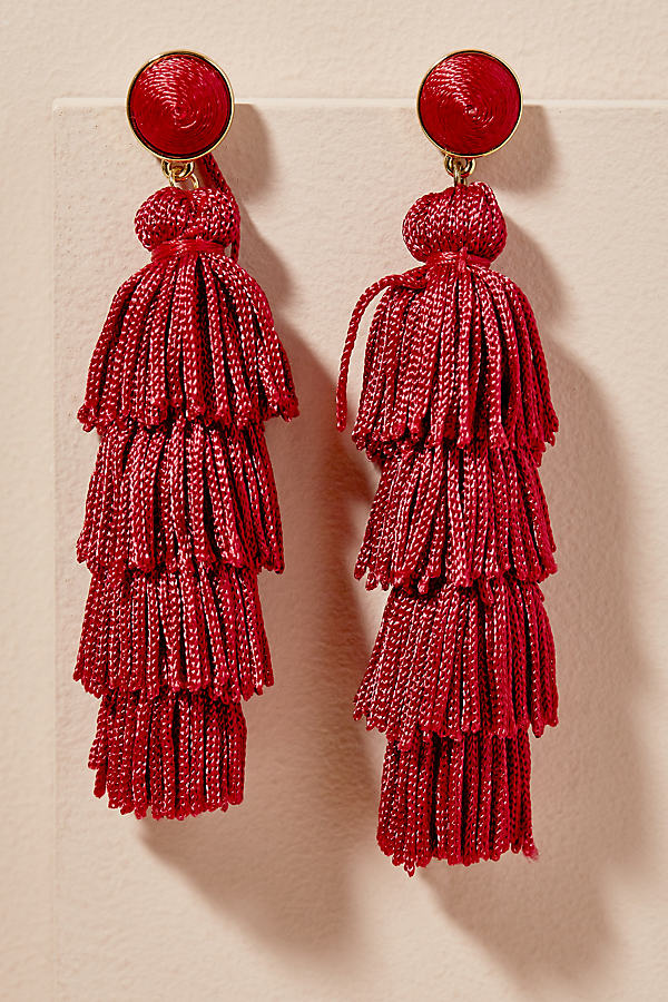 Malika Tiered Tassel Earrings - Red