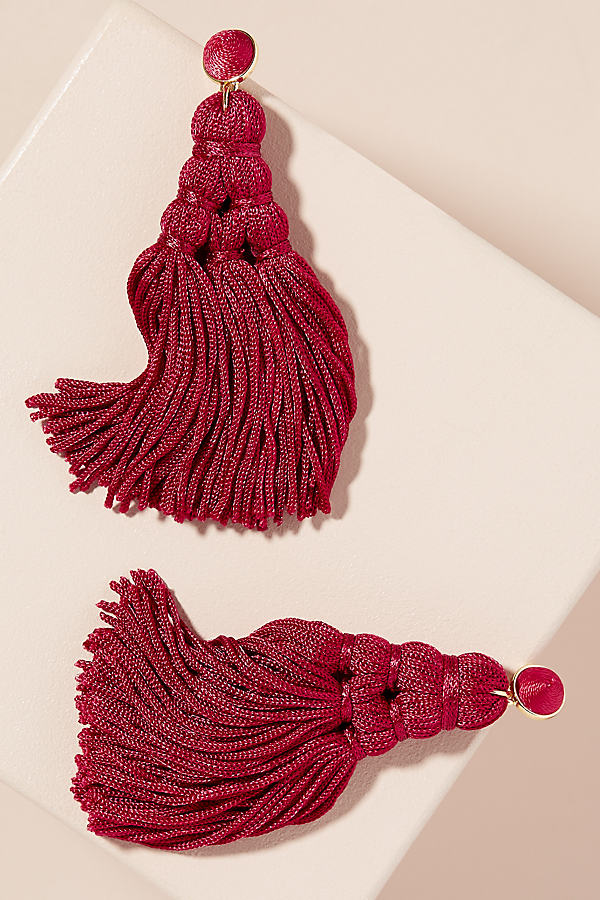 Caris Chandelier Tassel Earrings - Red