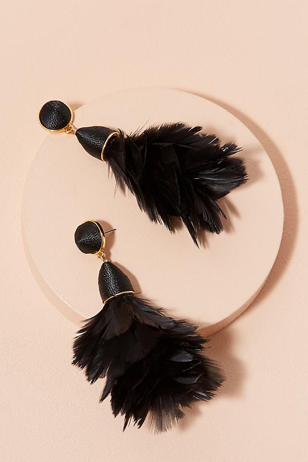 Dakota Feather Earrings - Black