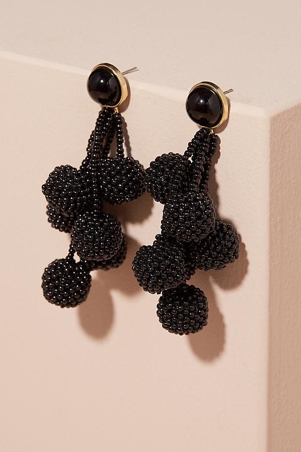 Hilda Pompom Chandelier Earrings - Black