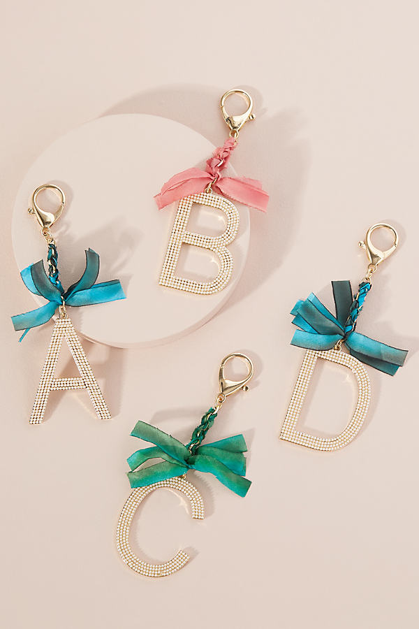 Faux Pearl-Embellished Monogram Keyring - Assorted, Size T