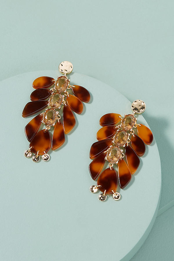 Debora Jewelled Tortoiseshell-Chandelier Earrings - Brown