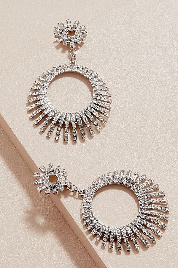 Varni Pave Hoop Earrings - Silver