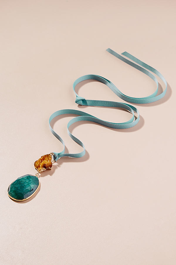 Novalie Gemstone Ribbon Necklace - Blue