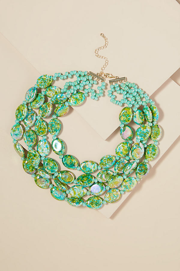 Liv Layered Beaded Necklace - Green