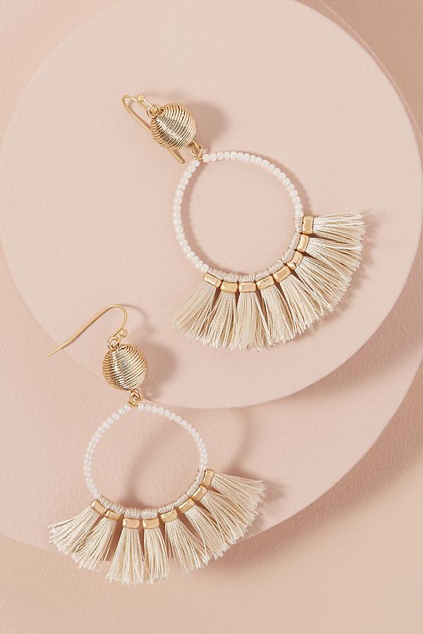 Tasselled Bead-Embellished Hoop Earrings - Cream