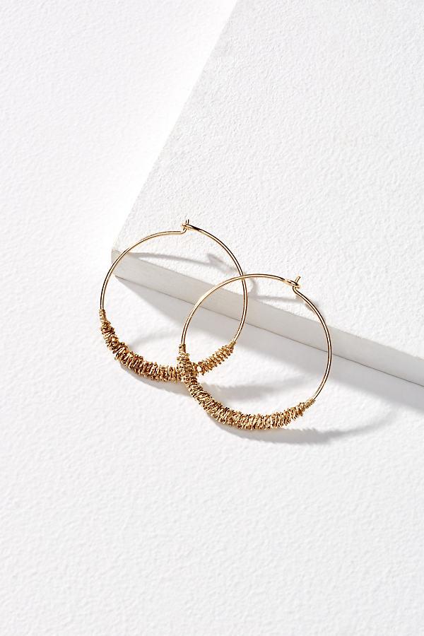 Tyrei Textured Hoop Earrings - Gold