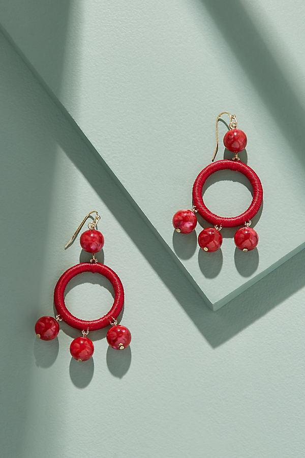Jewelled Chandelier Hoop Earrings - Pink