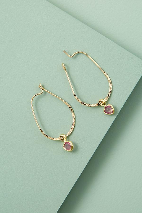 Val Stone-Drop Hoop Earrings - Pink
